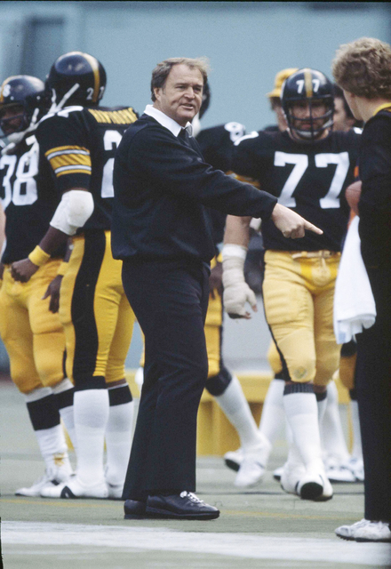 FILE - In this Jan. 21, 1979, file photo, Pittsburgh Steelers head coach Chuck Noll gives directions on the sidelines during Super Bowl 13 against the Dallas Cowboys at the Orange Bowl in Miami, F ...
