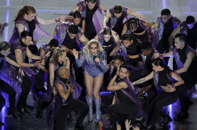Lady Gaga performs during the halftime show of the NFL Super Bowl 51 football game between the Atlanta Falcons and the New England Patriots Sunday, Feb. 5, 2017, in Houston. (AP Photo/Charlie Riedel)