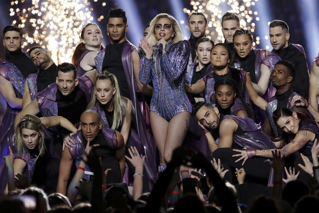 Singer Lady Gaga performs during the halftime show of the NFL Super Bowl 51 football game between the New England Patriots and the Atlanta Falcons, Sunday, Feb. 5, 2017, in Houston. (AP Photo/Matt ...