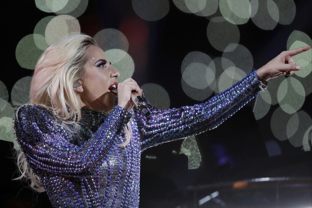 Singer Lady Gaga performs during the halftime show of the NFL Super Bowl 51 football game between the New England Patriots and the Atlanta Falcons, Sunday, Feb. 5, 2017, in Houston. (AP Photo/Darr ...