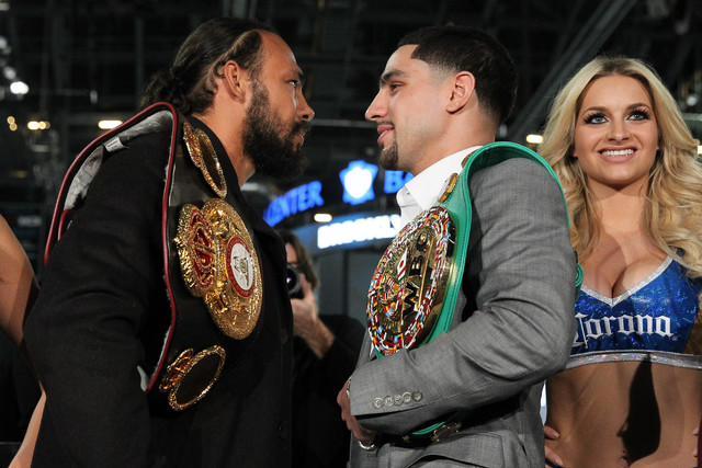 JANUARY 18 - BROOKLYN, NY: Keith Thurman (left) and Danny Garcia (right) face off at a news conference to announce their unification bout on March 4, 2017, at the Barclays Center in Brooklyn, NY.  ...
