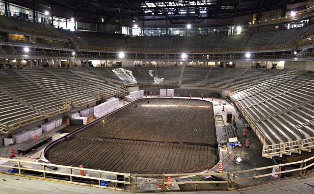 In this Sept. 26, 2014, file photo, work continues on the the Videotron Centre in Quebec City. The NHL is one step closer to establishing expansion teams in Las Vegas and Quebec City. The league a ...