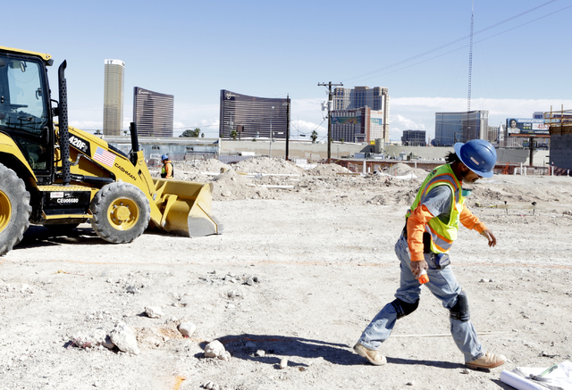 A view of the Las Vegas Strip as seen from the under construction 295-unit rental apartment development site in Chinatown area on Wednesday, Feb. 22, 2017, in Las Vegas. (Bizuayehu Tesfaye/Las Veg ...