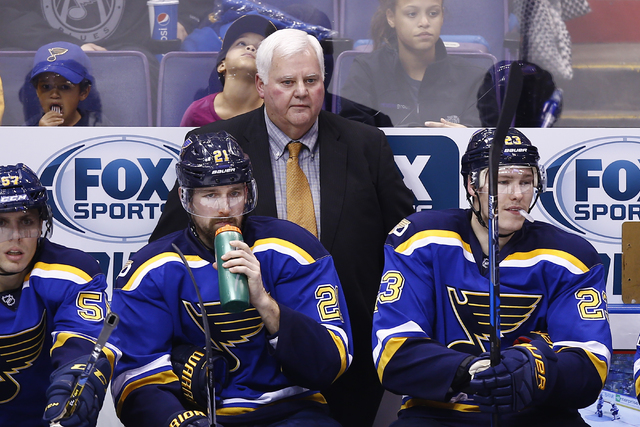 In this Dec. 3, 2016, file photo, St. Louis Blues coach Ken Hitchcock watches from the bench during the third period of the team's NHL hockey game against the Winnipeg Jets in St. Louis. It's co ...