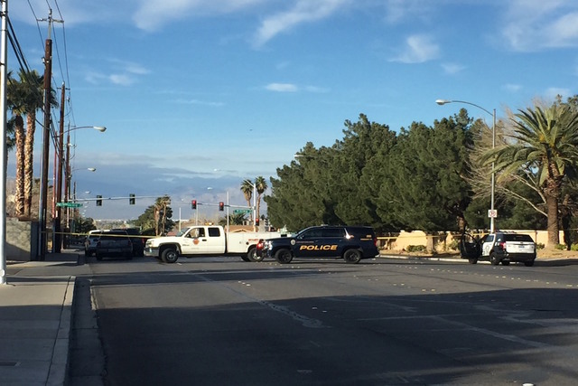 Jazmin Honorato España, 11, was struck by a truck in the intersection of South Sandhill and East Viking roads about 2:45 p.m. on Wednesday, Feb. 8. (Blake Apgar/Las Vegas Review-Journal) @blakeapgar