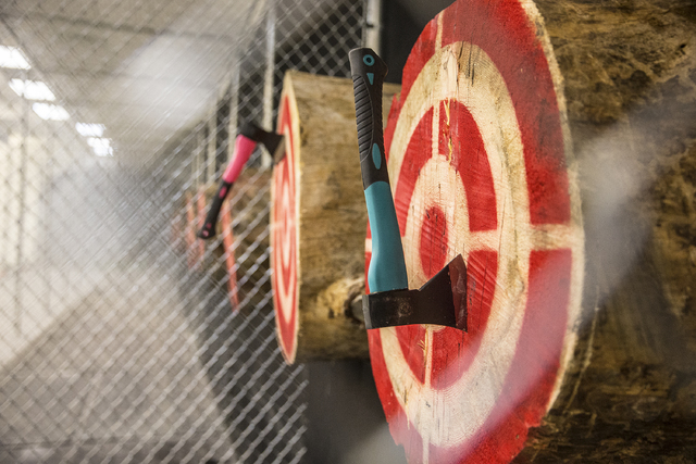 Targets are lined with recently thrown axes at Axe Monkeys Vegas on Wednesday, Feb. 1, 2017, in Las Vegas. (Benjamin Hager/Las Vegas Review-Journal) @benjaminhphoto