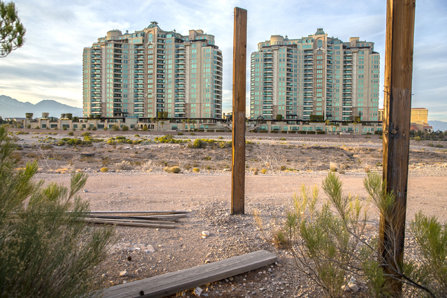 The proposed development of the Badlands golf course has prompted a more than year-long fight between the developer and neighboring residents, including One Queensridge Place. Photo taken on Wedne ...