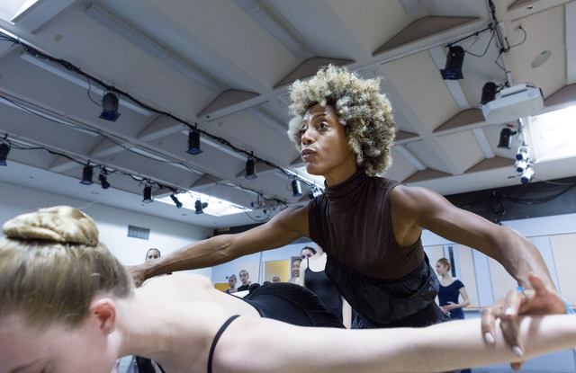 Tony Award Winner, Karine Plantadit, teaches a contemporary ballet class to young dancers after competing in the Youth America Grand Prix at UNLV's Artemus W. Ham Concert Hall, Las Vegas, Sunday,  ...