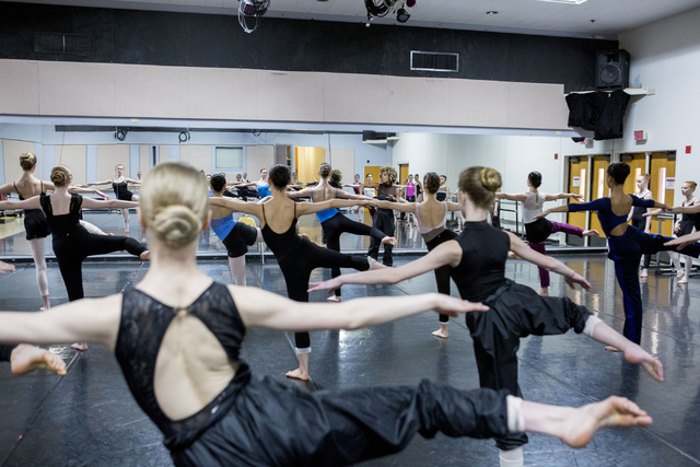 Young ballet dancers partake in Tony Award winner, Karine Plantadit's, contemporary ballet class after competing in the Youth America Grand Prix at UNLV's Artemus W. Ham Concert Hall, Las Vegas, S ...
