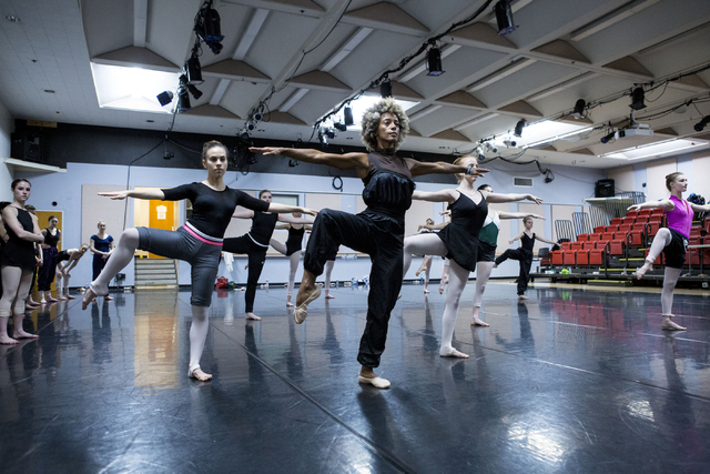 Tony Award winner, Karine Plantadit, center, teaches a  contemporary ballet class to young dancers after competing in the Youth America Grand Prix at UNLV's Artemus W. Ham Concert Hall, Las Vegas, ...