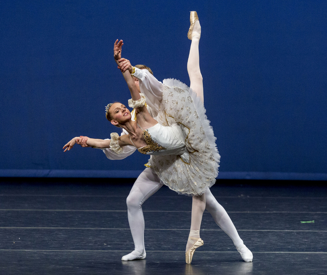 Casy Vanden Berge Berghe, 16, and Eugene Mesheryakov, 17, dance to the Nutcracker in the Youth America Grand Prix at UNLV's Artemus W. Ham Concert Hall, Las Vegas, Sunday, Feb. 5, 2017.  (Elizabet ...