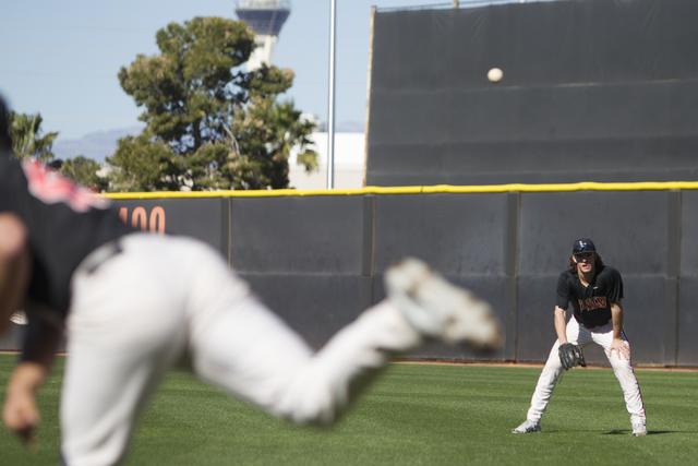 UNLV's pitcher Jake Lewis (12) during a team practice at Earl E. Wilson Stadium on Tuesday, Feb. 14, 2017, in Las Vegas. (Erik Verduzco/Las Vegas Review-Journal) @Erik_Verduzco