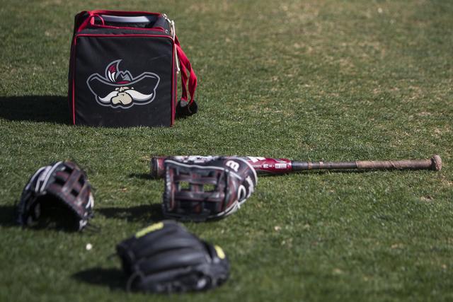 Baseball equipment during an UNLV team practice at Earl E. Wilson Stadium on Tuesday, Feb. 14, 2017, in Las Vegas. (Erik Verduzco/Las Vegas Review-Journal) @Erik_Verduzco