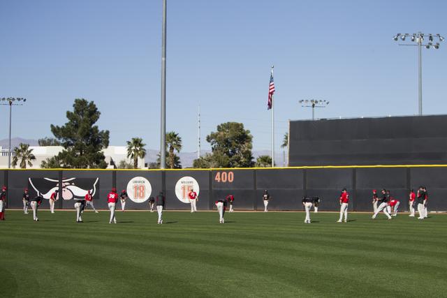 Players stretch during an UNLV team practice at Earl E. Wilson Stadium on Tuesday, Feb. 14, 2017, in Las Vegas. (Erik Verduzco/Las Vegas Review-Journal) @Erik_Verduzco