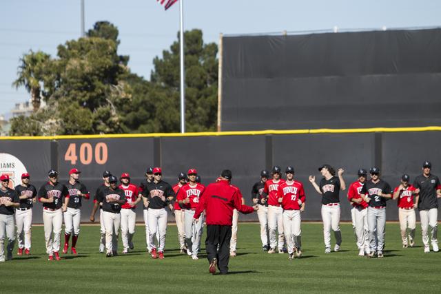 UNLV's baseball head coach Stan Stolte walks to his players during a team practice at Earl E. Wilson Stadium on Tuesday, Feb. 14, 2017, in Las Vegas. (Erik Verduzco/Las Vegas Review-Journal) @Erik ...