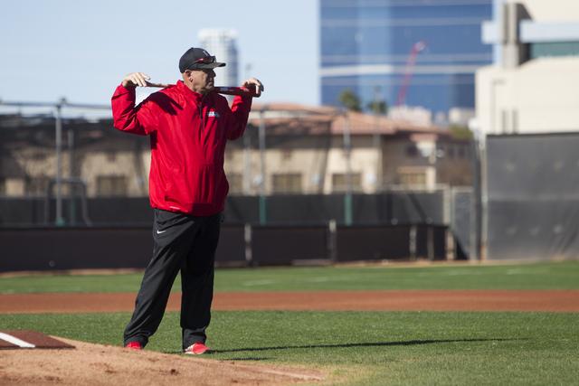 UNLV's baseball head coach Stan Stolte during a team practice at Earl E. Wilson Stadium on Tuesday, Feb. 14, 2017, in Las Vegas. (Erik Verduzco/Las Vegas Review-Journal) @Erik_Verduzco