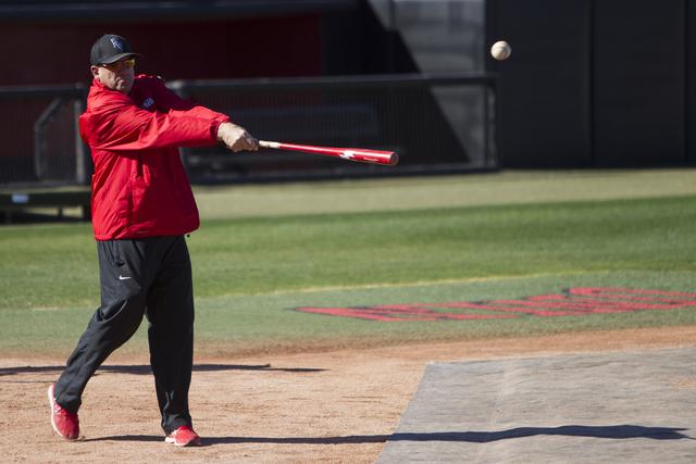UNLV's baseball head coach Stan Stolte hits the ball during a team practice at Earl E. Wilson Stadium on Tuesday, Feb. 14, 2017, in Las Vegas. (Erik Verduzco/Las Vegas Review-Journal) @Erik_Verduzco