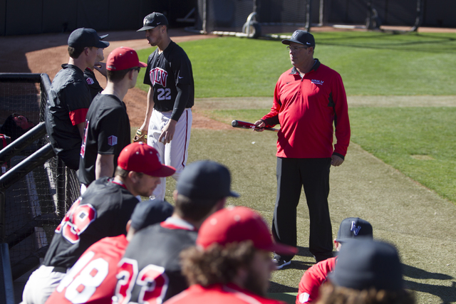 UNLV's pitching coach Greg Maddux, right, speaks to his players during a baseball team practice at Earl E. Wilson Stadium on Tuesday, Feb. 14, 2017, in Las Vegas. (Erik Verduzco/Las Vegas Review-J ...