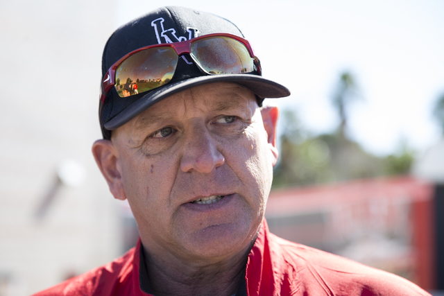 UNLV's baseball head coach Stan Stolte is interviewed during media day at Earl E. Wilson Stadium on Tuesday, Feb. 14, 2017, in Las Vegas. (Erik Verduzco/Las Vegas Review-Journal) @Erik_Verduzco