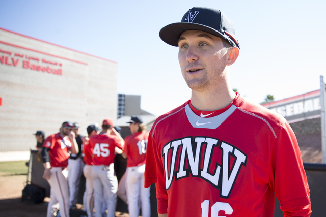 UNLV' Alan Strong is interviewed during media day at Earl E. Wilson Stadium on Tuesday, Feb. 14, 2017, in Las Vegas. (Erik Verduzco/Las Vegas Review-Journal) @Erik_Verduzco