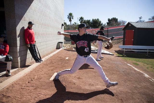 UNLV's pitcher Paul Richy (43) during a baseball team practice at Earl E. Wilson Stadium on Tuesday, Feb. 14, 2017, in Las Vegas. (Erik Verduzco/Las Vegas Review-Journal) @Erik_Verduzco