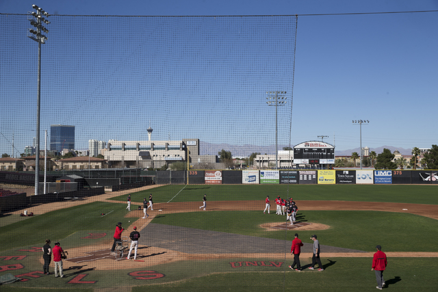 UNLV's baseball team during practice at Earl E. Wilson Stadium on Tuesday, Feb. 14, 2017, in Las Vegas. (Erik Verduzco/Las Vegas Review-Journal) @Erik_Verduzco