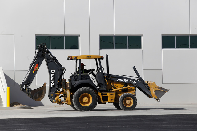 A member of a construction crew works on an industrial center on Thursday, Feb. 9, 2017, in North Las Vegas. Bed Bath & Beyond is moving a warehouse operation into the center. (Christian K. Le ...