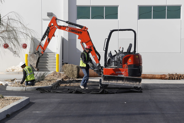 Construction crew members work on an industrial center on Thursday, Feb. 9, 2017, in North Las Vegas. Bed Bath & Beyond is moving a warehouse operation into the center. (Christian K. Lee/Las V ...