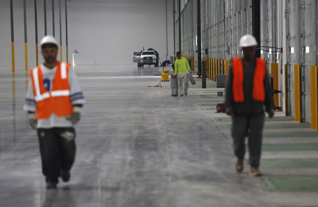 A construction crew inside of an industrial center on Thursday, Feb. 9, 2017, in North Las Vegas. Bed Bath & Beyond is moving a warehouse operation into the center. (Christian K. Lee/Las Vegas ...