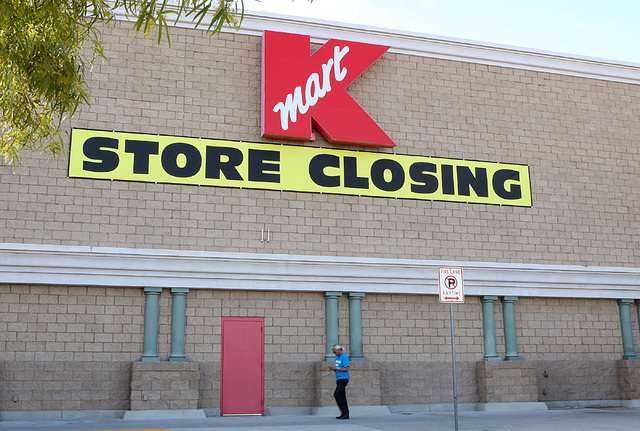 K-Mart store sign on 10405 S. Eastern Ave., announces Its closing on Tuesday, Feb 7, 2017, in Henderson. ( Bizuayehu Tesfaye/Las Vegas Review-Journal) @bizutesfaye