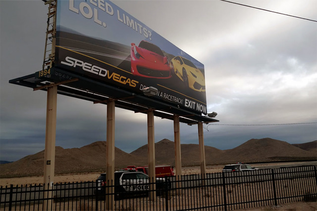 Police respond to a crash scene outside Speed Vegas on Sunday. (Max Michor/Las Vegas Review-Journal)