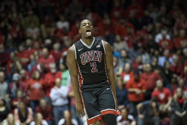 UNLV Rebels guard Uche Ofoegbu (2) reacts after scoring a three-point shot in the men's basketball game at The Pit on Tuesday, Jan. 10, 2017, in Albuquerque, N.M. UNLV won 71-66. (Erik Verduzco/La ...