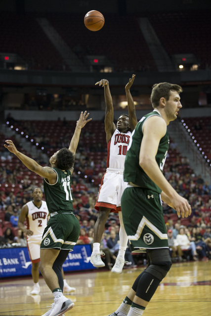 UNLV Rebels guard Zion Morgan (10) shoots the ball against Colorado State Rams in the men's basketball game at the Thomas & Mack Center on Saturday, Feb. 4, 2017, in Las Vegas. (Erik Verduzco/ ...