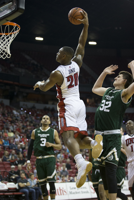 UNLV Rebels forward Christian Jones (20) goes up for a dunk against Colorado State Rams in the men's basketball game at the Thomas & Mack Center on Saturday, Feb. 4, 2017, in Las Vegas. (Erik  ...