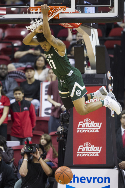 Colorado State Rams guard Prentiss Nixon (11) dunks the ball against UNLV Rebels in the men's basketball game at the Thomas & Mack Center on Saturday, Feb. 4, 2017, in Las Vegas. Colorado won  ...
