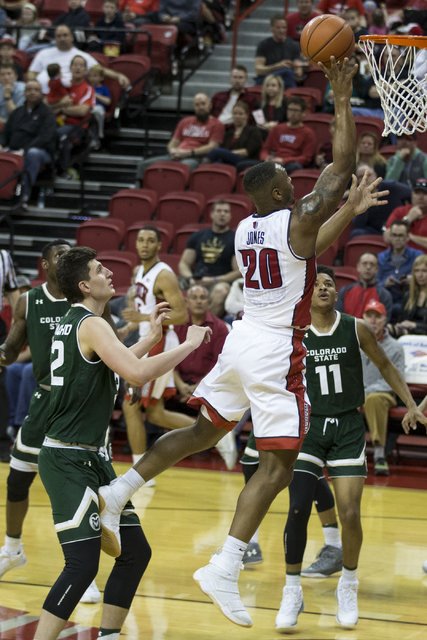UNLV Rebels forward Christian Jones (20) goes up for a shot against Colorado State Rams in the men's basketball game at the Thomas & Mack Center on Saturday, Feb. 4, 2017, in Las Vegas. Colora ...