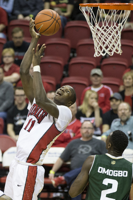 UNLV Rebels forward Cheickna Dembele (11) goes up for a shot against Colorado State Rams in the men's basketball game at the Thomas & Mack Center on Saturday, Feb. 4, 2017, in Las Vegas. Color ...