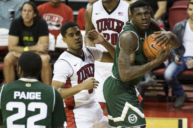 Colorado State Rams forward Emmanuel Omogbo (2) gains possession of the ball against UNLV Rebels in the men's basketball game at the Thomas & Mack Center on Saturday, Feb. 4, 2017, in Las Vega ...