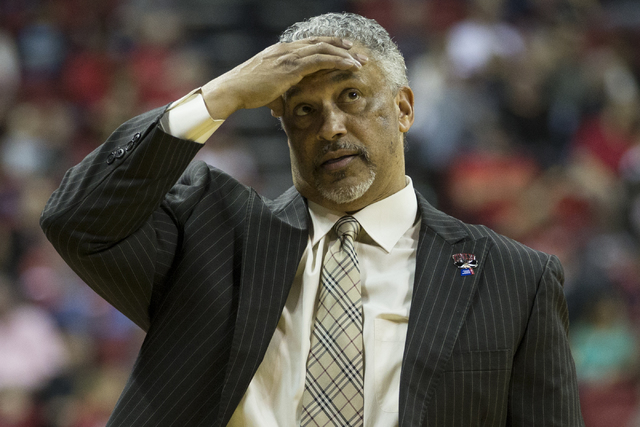 UNLV Rebels head coach Marvin Menzies reacts to a play against Colorado State Rams in the men's basketball game at the Thomas & Mack Center on Saturday, Feb. 4, 2017, in Las Vegas. Colorado wo ...