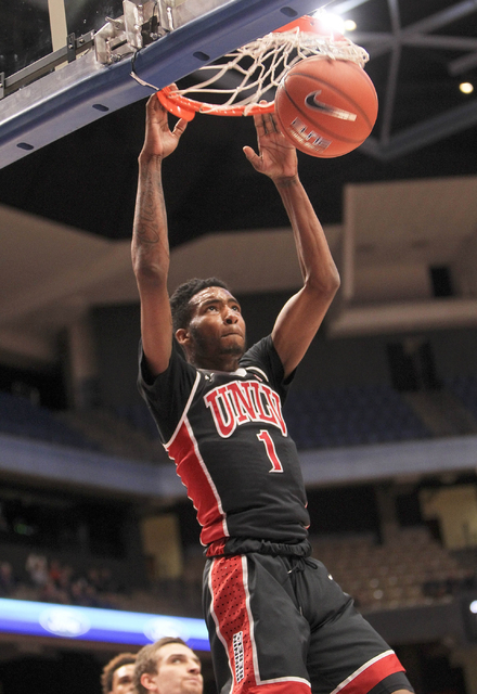 UNLV player Derrick Jones Jr. (1) dunks against the Boise State defense during the game at Taco Bell Arena in Boise, Idaho, on Tuesday Feb. 23, 2016. (Kyle Green/Las Vegas Review-Journal)