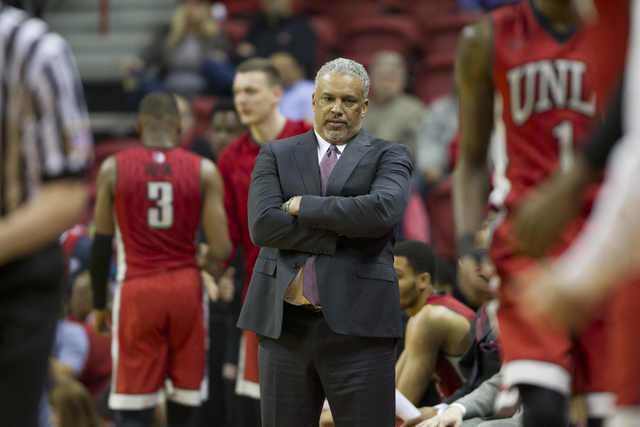 UNLV Rebels head coach Marvin Menzies during his team's basketball game against Nevada Wolf Pack at the Thomas & Mack Center on Saturday, Feb. 25, 2017, in Las Vegas. (Erik Verduzco/Las Vegas  ...