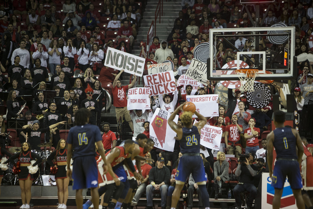 Fans make noise during a free throw shot by Nevada Wolf Pack guard Jordan Caroline (24) against UNLV Rebels in their basketball game at the Thomas & Mack Center on Saturday, Feb. 25, 2017, in  ...