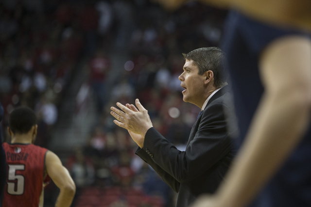 Nevada Wolf Pack assistant coach Dave Rice, former UNLV head coach, during his team's game against the Rebels in the basketball game at the Thomas & Mack Center on Saturday, Feb. 25, 2017, in  ...