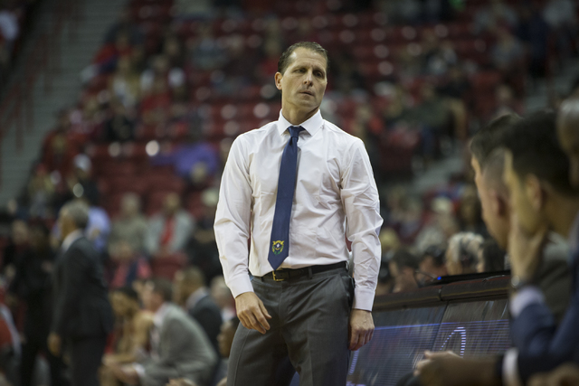 Nevada Wolf Pack head coach Eric Musselman reacts during a play against the UNLV Rebels in their basketball game at the Thomas & Mack Center on Saturday, Feb. 25, 2017, in Las Vegas. (Erik Ver ...