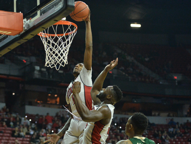 UNLV Rebels forward Derrick Jones Jr. (1) dunks the ball during a game against Colorado State at the Thomas & Mack Center in Las Vegas on Saturday, Feb. 13, 2016. (Brett Le Blanc/Las Vegas Rev ...