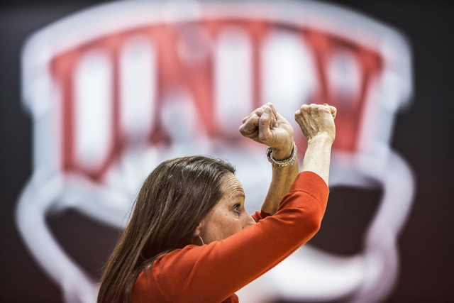 UNLV head coach Kathy Olivier calls a defensive play during the Rebels home matchup with Air Force on Wednesday, Feb. 22, 2017, at Cox Pavilion, in Las Vegas.  (Benjamin Hager/Las Vegas Review-Jou ...