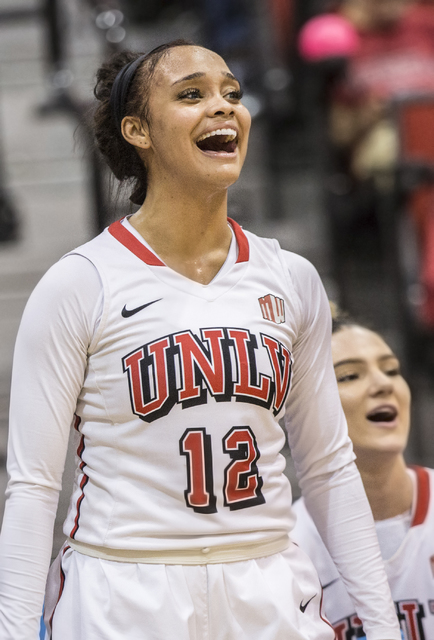 UNLV's Dakota Gonzalez (12) cheers on the Rebels during their home matchup with Air Force on Wednesday, Feb. 22, 2017, at Cox Pavilion, in Las Vegas.  (Benjamin Hager/Las Vegas Review-Journal) @be ...