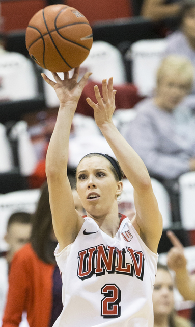UNLV's Brooke Johnson (2) shoots a jump shot during the Rebels home matchup with Air Force on Wednesday, Feb. 22, 2017, at Cox Pavilion, in Las Vegas.  (Benjamin Hager/Las Vegas Review-Journal) @b ...