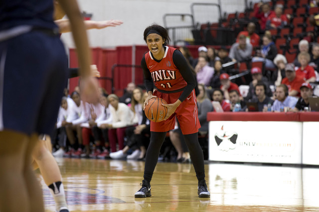 UNLV Rebels guard Dylan Gonzalez (11) yells to teammates during a game against Nevada Wolf Pack at Cox Pavilion at UNLV campus on Wednesday, Feb. 8, 2017, in Las Vegas. (Bridget Bennett/Las Vegas  ...