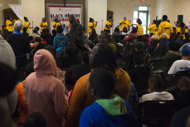 A large crowd gathers to watch the New Antioch Christian Fellowship Praise Team perform during the Black History Month Festival at Springs Preserve on Saturday, Feb. 18, 2017, in Las Vegas.  (Brid ...